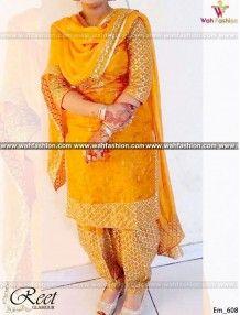 Mesmeric Saffron Yellow Embroidered Punjabi Suit