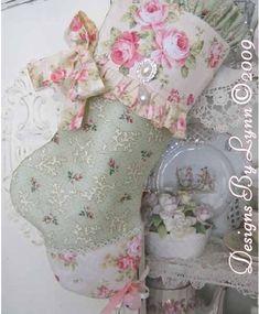 Pink Roses Stocking OOAK  Designs By Lynn-pink, roses, shabby, chic, ruffles, Victorian, Vintage, Lynn,