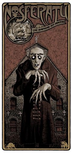 Vampire Movie Poster Art : Nosferatu 1922 by Chris Weston Horror Movie Posters, Movie Poster Art, Horror Vintage, Retro Horror, Arte Horror, Horror Art, Fantasy Anime, Kunst Poster, Classic Horror Movies