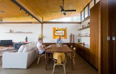 Wonderful clerestory light in a sustainable home.