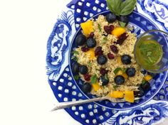 Blueberry & Mango Quinoa Salad with Lemony Basil Vinaigrette {Share the Love}
