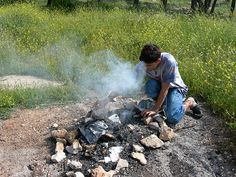 Burning chametz in a Jerusalem park the morning before Pesach