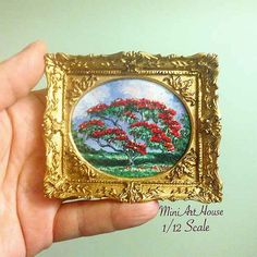Miniature painting Red tree от Miniarthouse на Etsy