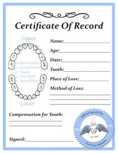 Tooth fairy certificate with tooth chart. Tooth Fairy Letter Template, Letter Templates, Tooth Fairy Certificate, Todays Parent, Tooth Fairy Pillow, Teeth Care, Smile Teeth, Certificate Templates, Baby Love