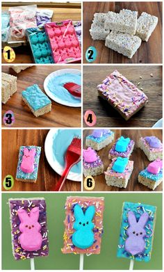Easter Peeps Bunny Rice Krispies Treats Pops @foodfamilyfinds.com - Oh My Gosh! These are so cute!
