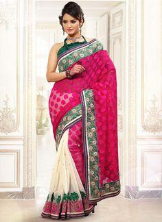 Ideal Net And Jute Silk Half N Half Saree