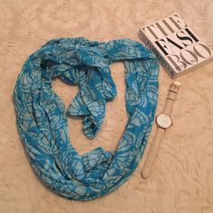 Beautiful Blue And White Butterfly Scarf