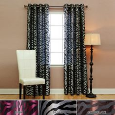 @Overstock - Update your décor and give it a contemporary, bold look with these zebra jacquard room darkening curtains. For added style, the two-panel curtains feature 16 antique bronze grommets. You have the option to choose from chocolate, pink, or silver.http://www.overstock.com/Home-Garden/Zebra-Jacquard-Grommet-84-inch-Room-Darkening-Curtain-Pair/5918225/product.html?CID=214117 $40.99