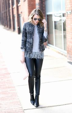 Love the cropped jacket (collarless), the tweed and the minimal fringe