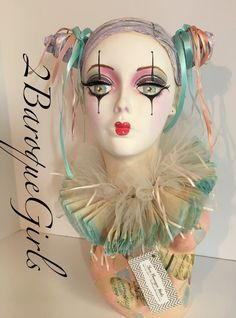 Mannequin Head, Hand Painted, Harlequin Clown Head