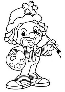 painter clown coloring pages Coloring Pages To Print, Coloring Book Pages, Printable Coloring Pages, Coloring Pages For Kids, Coloring Sheets, Circus Crafts, Send In The Clowns, Digi Stamps, Line Drawing