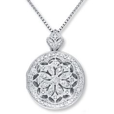 Locket Necklace 1/10 ct tw Diamonds Sterling Silver ($150) ❤ liked on Polyvore featuring jewelry, necklaces, sterling silver box chain necklace, sterling silver necklace, sterling silver diamond necklace, diamond pendant and diamond pendant necklace