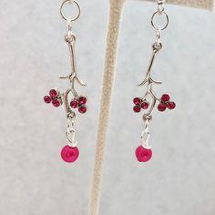 Hot Pink Fuchsia Swarovski Pearl Crystal Silver Chandelier Earrings Doodaba Silver Chandelier, Chandelier Earrings, Pink Earrings, Drop Earrings, Tote Bags Handmade, Swarovski Pearls, Vintage Pink, Hot Pink, Etsy