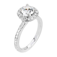 A classic solitaire with an elegant cushion cut halo adds dimensions to the center diamond for sophistication and modernity.Diamond info: 0.62 (centerstone not included)