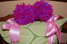 Abby Cadabby Hair Clips by TotallyTerrificTUTUS on Etsy, $4.00 Abby Cadabby, Hair Clips, Purple, Pink, Etsy Seller, Turquoise, Pom Poms, Creative, Birthday Ideas