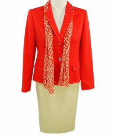 Jones New York Park Ave 2 Piece Skirt Suit Red/Khaki 10. This skirt suit features a two button closure, long sleeve jacket with an a-line skirt.  Scarf included.
