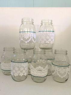 8 Quart Mason Jars for Rustic Chic Vintage Wedding Decor Gorgeous Alencon Lace | eBay