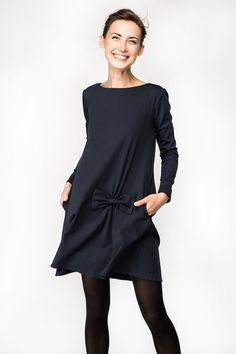 Kleid mit Schleife Herbst Kleid Dunkelblaues Kleid