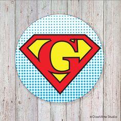 Superhero Birthday  2 Round Letter Labels DIGITAL