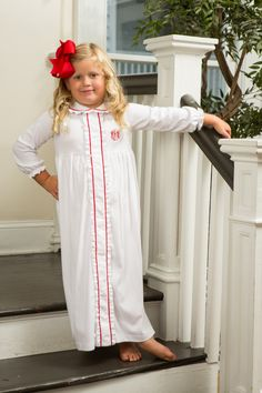 Holiday Nightgown by Crescent Moon Children. Childrens Christmas, Christmas Pajamas, Christmas Nightgowns, Holiday Dresses, Christmas Dresses, White Nightgown, Holiday Pictures, Moon Child, Night Gown