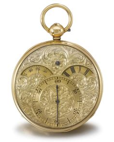 PREST. A HIGHLY RARE AND UNUSUAL 18K GOLD OPENFACE SPLITTABLE SECONDS WATCH WITH SECTOR TIME INDICATION SIGNED THOMAS PREST, CHIGWELL, NO. 527, STAMPED WITH LONDON DATE LETTER FOR 1840