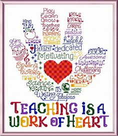 Cross Stitch Design Lets Hug a Teacher - 'Words' cross stitch pattern designed by Ursula Michael. - Let's Hug a Teacher cross stitch pattern. Another colorful pattern in our 'Words'series for your favorite teacher. Cross Stitching, Cross Stitch Embroidery, Embroidery Patterns, Machine Embroidery, Teacher Appreciation Week, Teacher Gifts, Teacher Cards, Student Teacher, Cross Stitch Designs