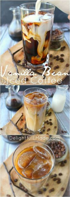 Vanilla Bean Iced Coffee Forget the morning rush at your local coffee shop - make your favorite iced coffee drink right at home! My Vanilla Bean Iced Coffee is made with a super-simple vanilla bean syrup, as well as cold brew coffee, and half and half. Fun Drinks, Yummy Drinks, Yummy Food, Beverages, Detox Drinks, Tasty, Vanilla Iced Coffee, Iced Coffee Recipes, Iced Coffee At Home