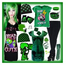 """""""green love"""" by emoscene92 ❤ liked on Polyvore featuring Goodie Two Sleeves, Kreepsville 666, emo, scene, shoponthetop and green"""