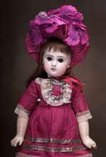 """15"""" (38 cm) Gorgeous French bisque Bebe Jumeau, size 5, with closed mouth, antique costume"""