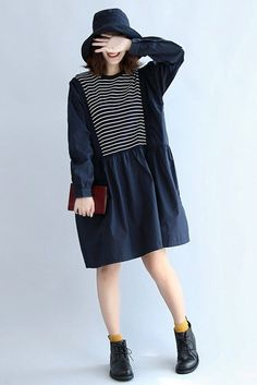 Cotton Stripe Long Sleeve Women Dress Tops In Navy Blue