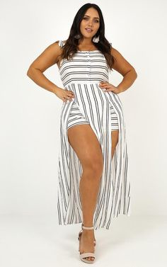 Thinking Bout You Maxi Dress In White Stripe Maxi Playsuit, Cute Maxi Dress, Wide Brimmed Hats, Strapless Maxi, Long Torso, Lace Up Flats, Wrap Dress, White Dress, Hot