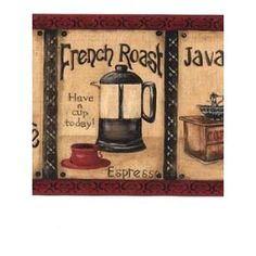 French Bistro Wallpaper Borders | York French Roast Java Time Coffee Cafe  Red Pictures Wallpaper Border