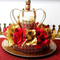 NEW Red and Gold Baby Shower CROWN Centerpiece / Boys Red and Gold Prince Baby Shower Theme and Decorations from Platinum Diaper Cakes Quince Decorations, Quinceanera Decorations, Gold Party Decorations, Quinceanera Party, Quince Centerpieces, Disney Centerpieces, Birthday Centerpieces, Centerpiece Decorations, Birthday Decorations