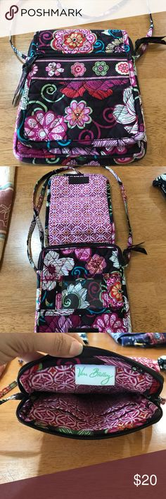 Three for the price of one! Three cross-body purses. The White and Black and Pink flowered are Vera Bradley. The Blue one is Maggie B. Well loved, lots of life left. Smoke free home. Bags Crossbody Bags