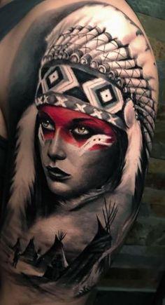 Indian Women Tattoo, Native Indian Tattoos, Indian Girl Tattoos, Tribal Tattoos Native American, Indian Tattoo Design, African Tattoo, Native American Headdress, American Indian Tattoos, Native American Indians