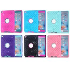 For Apple Pad Mini 4 Hybrid Combo Hard PC Soft Silicone Armor Phone Case Cover with Spot Diamond | iPhone Covers Online