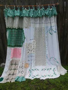 Shabby Chic Shower Curtain/Vintage Embroidery/Vintage Crochet/Boho Decor/Home Decor/Bathroom Curtain/Shower/Curtain