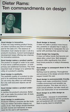 Ten Commandments on Design by Dieter Rams
