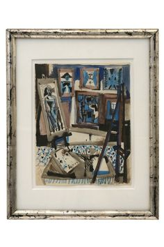 Watercolor painting of an artist's studio by Michel Debieve (1931- ) framed in antique silver gilt wood frame. France, 1958