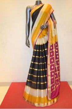 Gorgeous Black Designer Mysore Crepe Silk Saree