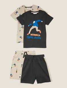 2pk Pure Cotton Skateboard Pyjama Sets (6-16 Yrs) | M&S Pyjamas, Skateboard, Suit Shop, Pajama Shorts, Latest Dress, Striped Shorts, Pyjama Sets, Lounge Wear, Pure Products
