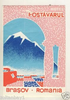 Old Luggage Label Kofferaufkleber Etichetta Hotel Postavarul Brasov Romania | eBay