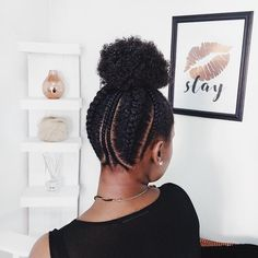 Haven't seen a cainrowed updo anything quite like this and I'm loving the creativity put into it. A beautiful style 😍 ⠀ . Natural Hair Updo, Natural Hair Care, Natural Hair Styles, My Hairstyle, Afro Hairstyles, Cabello Afro Natural, Pinterest Hair, Natural Hair Inspiration, 4c Hair