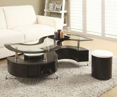 Serpentine occasional table in cappuccino/chrome finish with storage and Upholstered stool. Table top made of glass with a black edge.