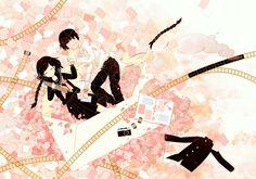 anime girl and anime boy with film and photos