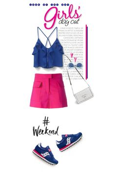 """""""Happy Saturday!!"""" by shortyluv718 ❤ liked on Polyvore featuring MANGO, MSGM, Saucony, Wildfox, Sarah Magid, shorts, summerstyle, sneakers, ruffles and summebrights"""