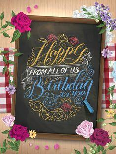 szép boldog születésnapot kalligráfia plakát alatt táblára Stock fotó