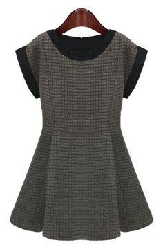 Graceful Short Sleeve A-line Dress - OASAP.com