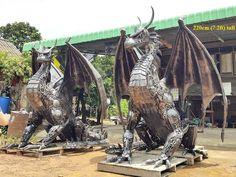 "Dragon statues twins lifesize,  from ""Scrap Metal Art Thailand (since 2012-07): over 50 welding artists; ceo: Namfon Suktawee • Namfon.Suktawee@Gmail.com • http://www.scrap-metal-art-thailand.com"