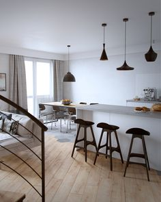 An attic apartment in oak and gray